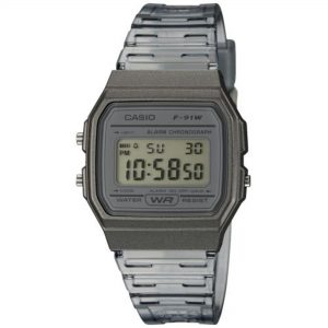 Casio Collection Quartz Digital Dial Grey Resin Strap Ladies' Watch F-91WS-8EF