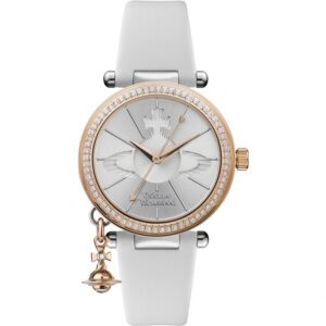 Vivienne Westwood Orb Quartz Silver Dial White Leather Strap Ladies Watch VV006RSWH
