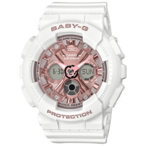 Casio Baby-G Quartz Rose Gold Dial White Resin Strap Ladies Watch BA-130-7A1ER
