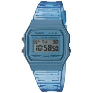 Casio Collection Quartz Digital Dial Blue Resin Strap Ladies' Watch F-91WS-2EF
