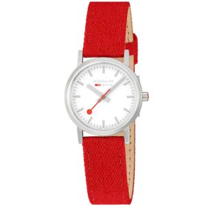 Mondaine Classic Quartz White Dial Red Textile Strap Ladies Watch A658.30323.17SBC