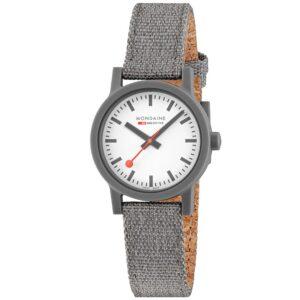 Mondaine Essence Quartz White Dial Grey Textile Strap Ladies Watch MS1.32110.LU