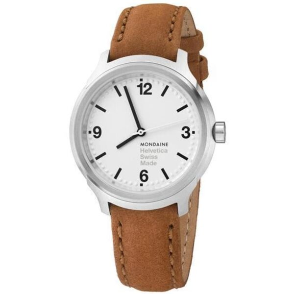 Mondaine Helvetica Bold Quartz White Dial Brown Leather Strap Ladies Watch MH1.B3110.LG
