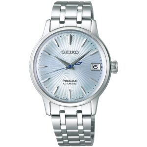 Seiko Presage Blue Dial Silver Stainless Steel Bracelet Automatic Ladies Watch SRP841J1
