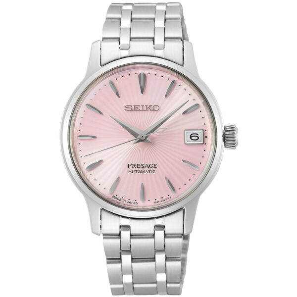Seiko Presage Pink Dial Silver Stainless Steel Bracelet Automatic Ladies Watch SRP839J1