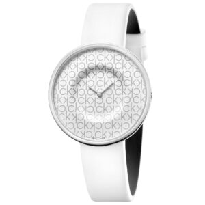 Calvin Klein Mania Quartz White Dial Leather Strap Ladies Watch KAG231LX