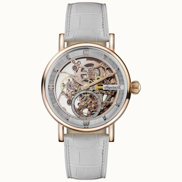 Ingersoll The Herald Automatic Rose Gold Dial White Leather Strap Men's Watch I00404
