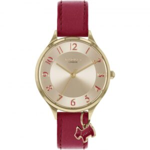 Radley Saxon Road Quartz Gold Dial Red Leather Strap Ladies Watch RY2968
