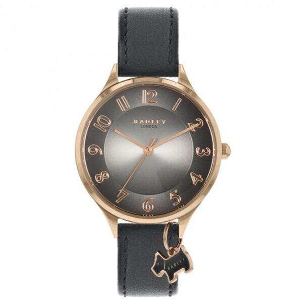 Radley Saxon Road Quartz Grey Dial Black Leather Strap Ladies Watch RY2966