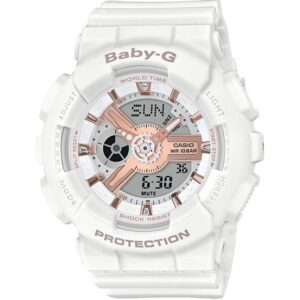Casio Baby-G White Resin Hybrid Digital/Analogue Ladies Watch BA-110RG-7AER