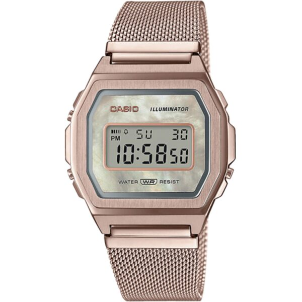Casio Collection Vintage Quartz Mother of Pearl Digital Dial Rose Gold Stainless Steel Bracelet Ladies' Watch A1000MCG-9EF