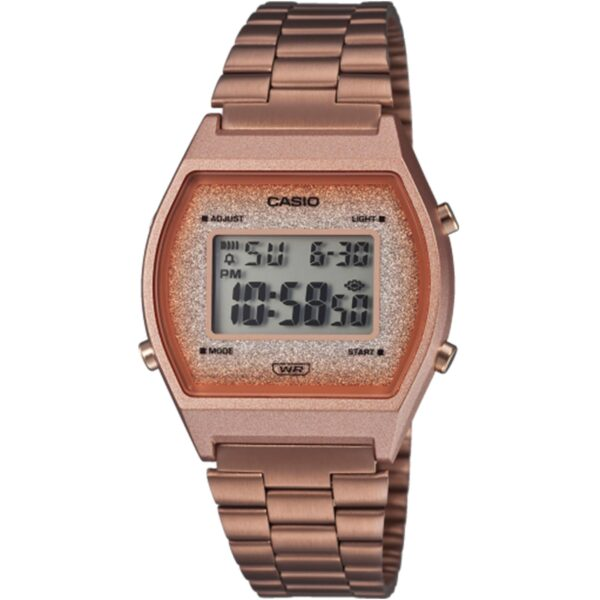 Casio Collection Vintage Quartz Rose Gold Digital Dial Rose Gold Stainless Steel Bracelet Ladies' Watch B640WCG-5EF