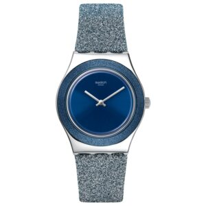 Swatch Blue Sparkle Quartz Synthetic Strap Ladies Watch YLS221
