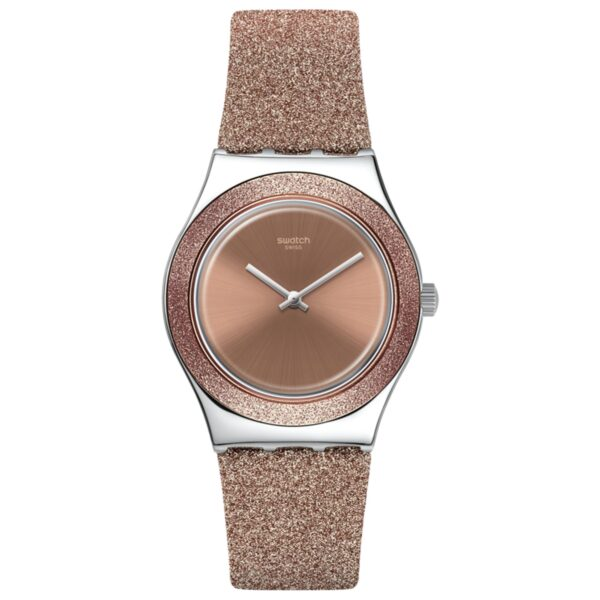 Swatch Rose Sparkle Quartz Pink Dial Synthetic Strap Ladies Watch YLS220
